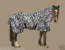 GEE TAC NEW ZEBRA HORSE NO JOIN FLY RUG COMBO UV. SWEETITCH RATED  6FT MASK