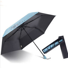 New Fashion Womens Printing Sun Umbrella Triple Folding Parasol Rain Umbrella