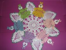 "OOAK HAND-CROCHETED WHITE EASTER BUNNY DOILY WITH PASTEL BUNNIES APPROX 14"" EAST"