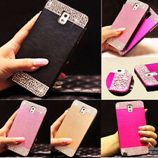 Bling Crystal Brushed Metal Aluminum PC Back Case Cover for Samsung Phones S5