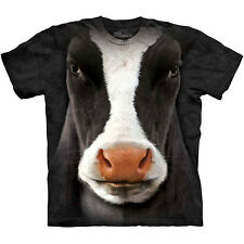 Black Cow Face T-Shirt by The Mountain Big Giant Head Farm Animal NEW