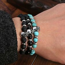 Elastic Jewelry Mens Lava Stone Skull Head 2016 Beaded Rock Bracelet Bangle Gift