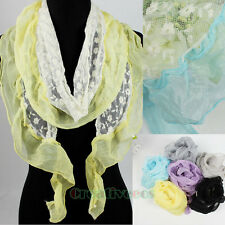 Fashion Women's Embroidery Floral Tulle Lace Chiffon Ruffle Trim Thin Long Scarf