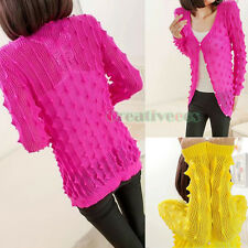 Fashion Women Striped Knit Top Sweater Hollow Out Candy Cardigan Sleeve Blouse