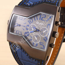 Cool Oulm Men Watch Military Army Dual Time Quartz Leather Sports Wrist Watch