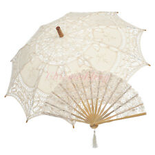 Embroidery Lace Sun Parasol Umbrella Hand Fan Set for Bridal Photo Props Shower