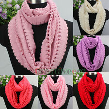 Fashion Women Corn Knitted Crochet Hollow Out Infinity Loop Cowl Casual Scarf
