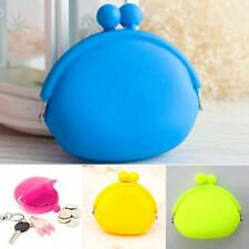 2016 Cute Candy Color Silicone Round Coin Purse Wallet Card Rubber Key Phone Bag