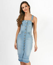 NEW BUTTON FRONT WOMEN'S DENIM PINAFORE DRESS DUNGAREES DRESS SIZES UK