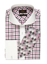 Dress Shirt by Steven Land Cutaway Collar  French Cuff-Pink-TW519-PK