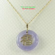 Beautiful Lavender Round Donut Jade 14K Yellow Gold Pendant Good Fortune TPJ