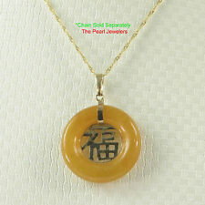 "Beautiful Donut Shape Yellow Jade ""GOOD LUCK"" 14k Yellow Solid Gold Pendant TPJ"