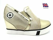 Womens-Ladies Shoes Wedge High Top Boots Sneakers Trainers Slip On GOLD NEW*