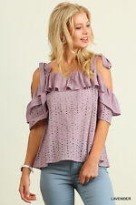 UMGEE Eyelet Fabric Ruffled Off The Shoulder Top S~M~L