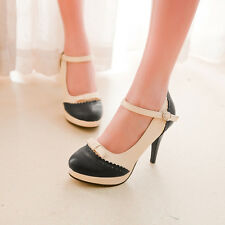 Color Sweet Mary Janes Bowknot Buckle Ladies High Stiletto Heels Shoes AU