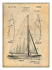 1927 Herreshoff Sailboat Patent Print Art Drawing Poster 18X24