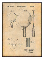 1934 Table Tennis Ping Pong Paddle Patent Print Art Drawing Poster 18X24