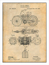 1897 Libbey Electric Bicycle Patent Print Art Drawing Poster 18X24