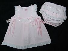 Girls Spanish Broderie Anglaise Pink Ribbon Bow Summer Dress & Pants 3-6 Mth