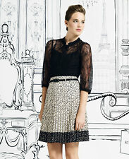 REVIEW STUNNING PLEATED POLKA DOT SKIRT WITH BELT NWT size 12