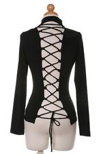 womens sexy black mock neck long sleeve open tie back corset blouse top