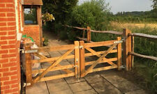 DOUBLE WOODEN 5 BAR DIAMOND BRACED FIELD FARM GATE ENTRANCE DRIVEWAY GATES
