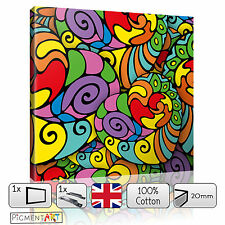 ABSTRACT MODERN MULTI COLOUR COLOURFUL - CANVAS WALL ART FRAMED PRINTS PICTURES