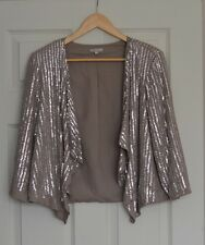 RIVER ISLAND SEQUIN EMBELISHED WATERFALL JACKET COVER UP PARTY EVENING SIZE 10