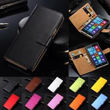 Genuine Leather Flip Case Cover Wallet Card Holder For Microsoft Nokia Lumia New