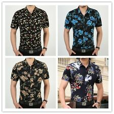 New Summer Flower Casual Men Shirt Luxury Stylish Short Sleeve Mens Dress Shirts