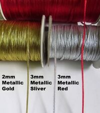 2 / 3 MM Metallic Gold Red Sliver Braided Trim Tape - Color Choice - 5/10 Yards