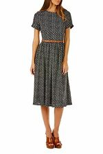 Sugarhill Boutique Poppy Lux Sinead Dot Midi Dress With Belt, Black White Spots