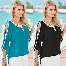 Sexy Womens Open Shoulder Blouse Beach 3/4 Sleeve Top T Shirt Loose Tee Trendy