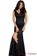 Black Lace Mermaid Fishtail Ladies Dress New Sexy Womens Party Prom Evening Gown