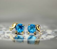 14k Yellow Gold Elephant Birthstone Screw Back Earring