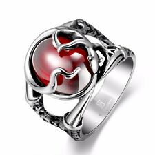 Stainless Steel Vintage Mayan Ruby on Claw Men's Ring Charm Jewelry Size 8-11