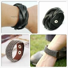 Cool Studded Surfer Genuine Leather Bracelet Wristband Cuff Men's Black Brown B1