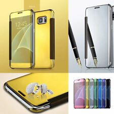 Luxury Mirror Smart Clear Flip Ultra-Thin View Mirror Leather Case For Phones
