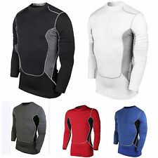 Mens Compression Base Layer Top Long Sleeve Training Thermal Gym Sports T Shirt