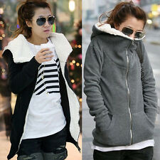 Womens Fleece Hooded Hoodie Jacket Sweater Outwear Long Sleeve Sweatshirt Coat