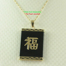 TPJ Rectangle Black Onyx Pendant Crafted 14k Yellow Solid Gold Good Fortune