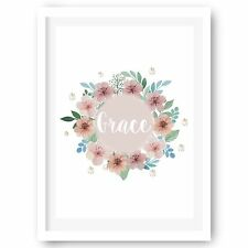 Personalised Nursery Print, Girls Room Flower Print, Art Print Wall Decor A4 A3