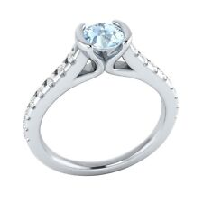 0.80ct Real Blue Aquamarine & Authentic Diamond Solid White Gold Engagement Ring