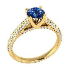 1.00 ct Natural Blue Sapphire & Authentic Diamond Yellow Gold Engagement Ring