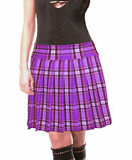 PURPLE STRETCH LYCRA SCHOOLGIRL TARTAN PLAID PLEATED LONG SKIRT Junior 17""