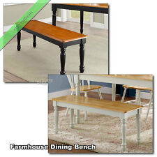 Farmhouse Dining Bench Kitchen Room Wood Country Seat Benches, Black / White Oak