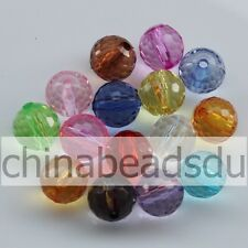 6-20MM Surface Faceted Acrylic Rock Crystal Transparent Clear Round Loose Beads