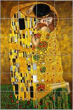 Gustav Klimt The Kiss - Glossy Ceramic Tile Art Kitchen/Bathroom Decorative Tile
