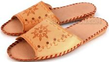 Handmade WOMENS LEATHER SLIPPERS SHOES MULES Flowers UK SIZE 4 6 7 SALE PEEP TOE