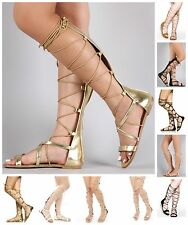 New Womens Strappy Open Toe Knee High Lace Up Zipper Gladiator Flat Sandals Shoe